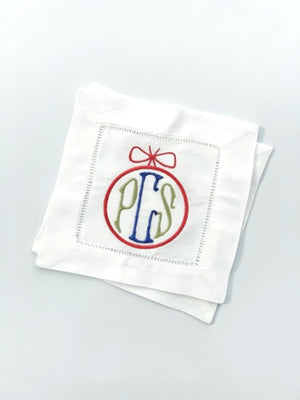 Noel Embroidered Monogrammed Linen Cocktail Napkins