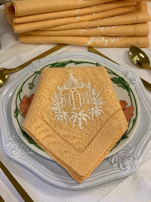 Pagoda Monogrammed Colour Table Linens