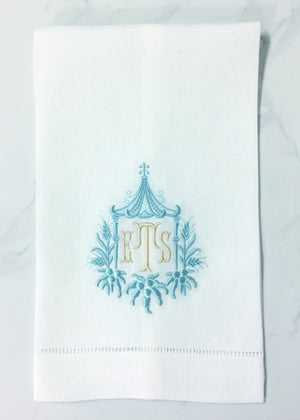 Pagoda chinoiserie monogrammed linen guest towel available as a single color or two colors. Also available as dinner napkins.