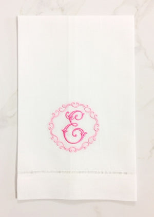 Pascal Monogrammed Linen Guest Towels
