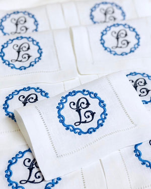 Pascal Signature Monogrammed Hemstitched Table Linens