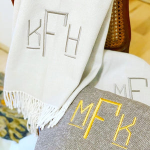 Pezzo Monogrammed Fringed Throw