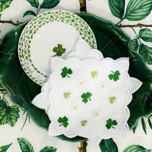 Shamrock and petite floral embroidered linen cocktail napkins with scallop edge detail.