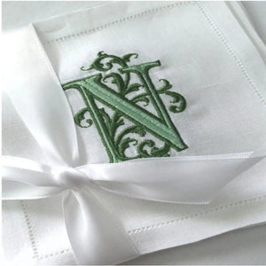 Venezia Monogrammed Linen Cocktail Napkins Set