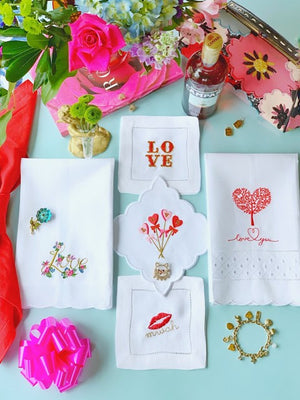 Valentines Embroidered Linen Cocktail Napkins & Guest Towels
