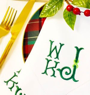 Weston Holiday Monogrammed Hemstitched Table Linens