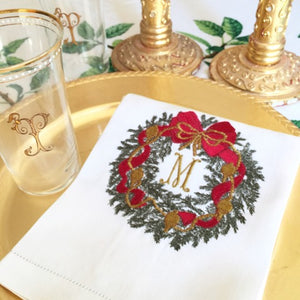 Monogrammed pique linen christmas wreath linen towel