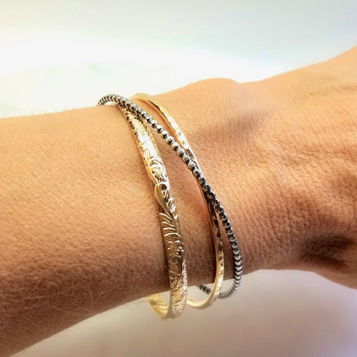 Gold and Oxidized Silver Cuff Bracelet (Medium Weight)