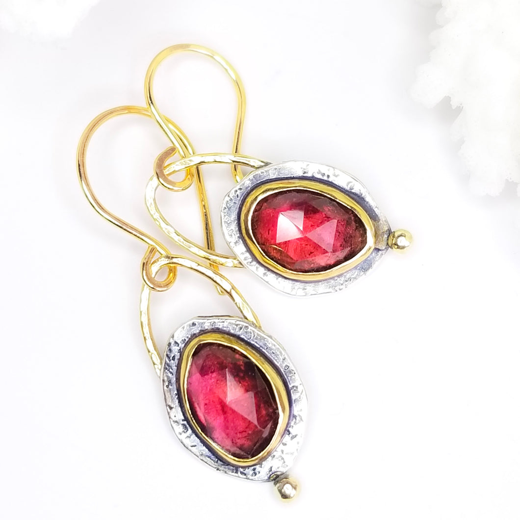 Deep Red Garnet Gemstone Earrings