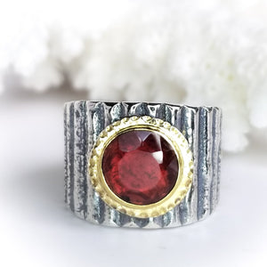 Deep Red Garnet Ring