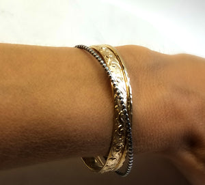 Gold and Silver Oxidized Cuff Bracelet (Heavy Weight)