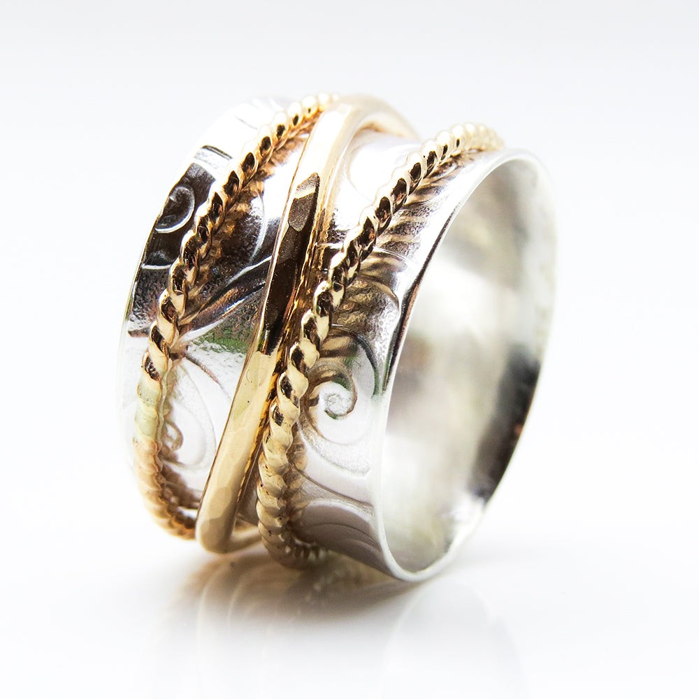 Bright Silver Wave Meditation Ring