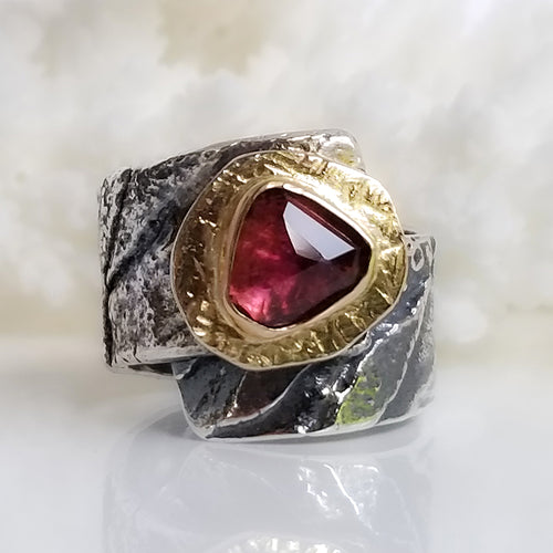 Deep Pink Tourmaline Ring