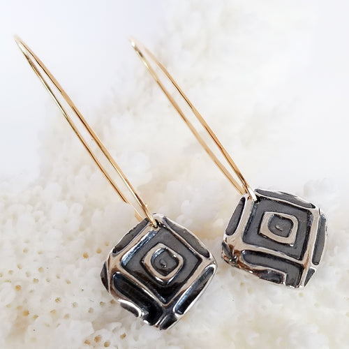 Two Toned Geometric Earrings