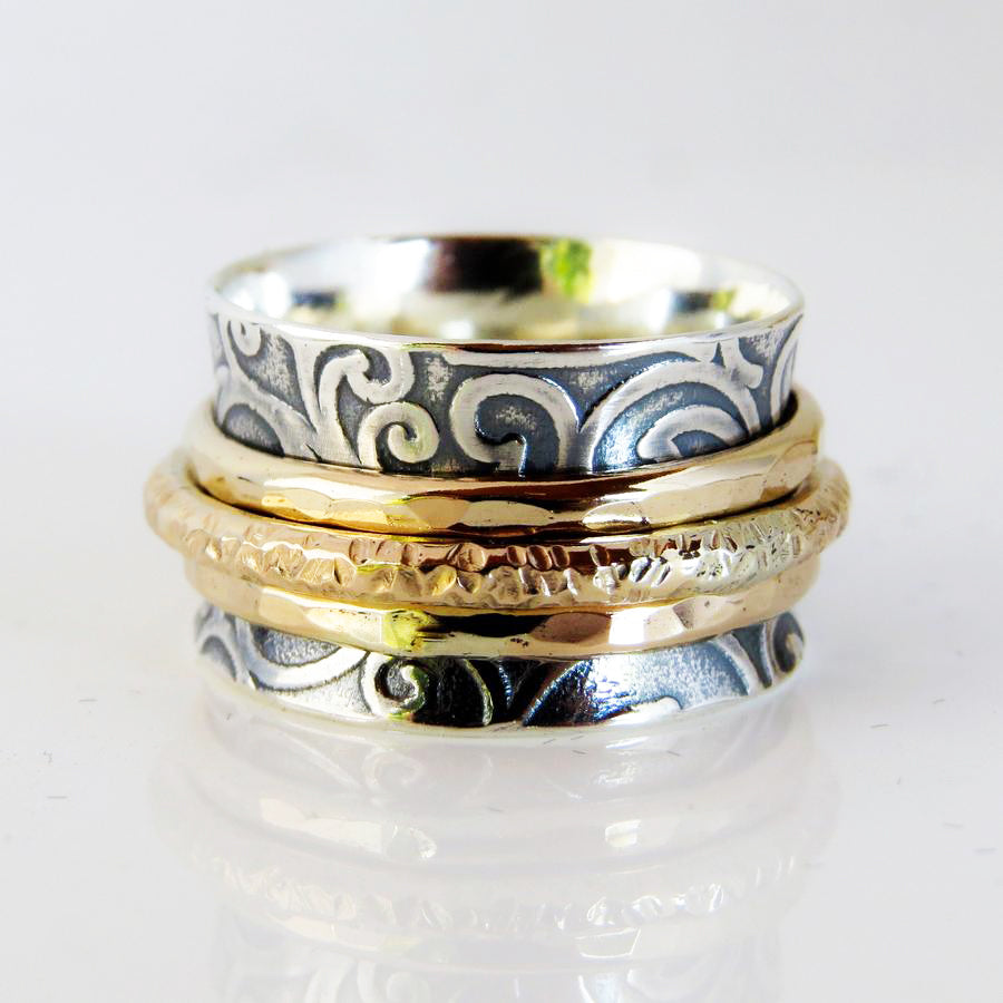 Filigree Triple Spinner Ring