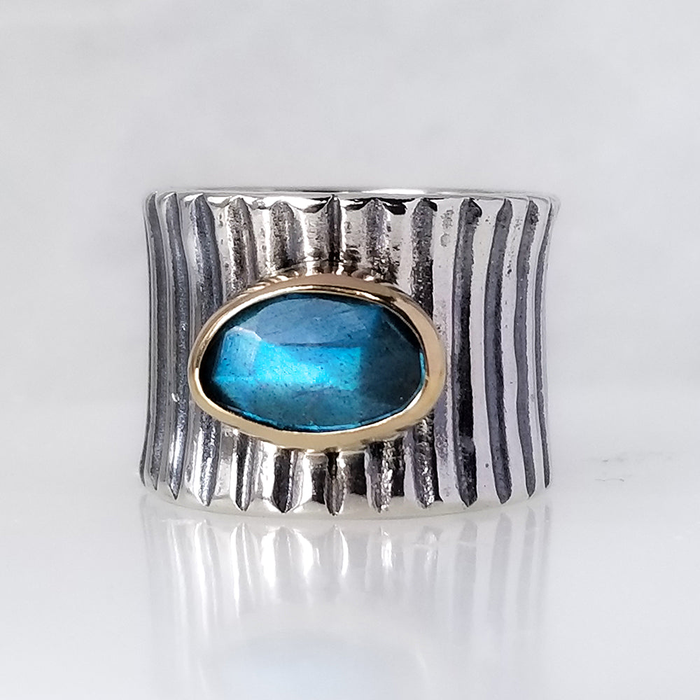 Labradorite Barrel Ring