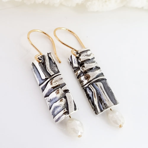 Rectangular Moonstone Dangle Earrings