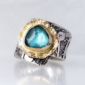 Sea Glass Blue Apatite Ring