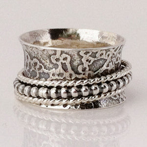 Silver Beaded Dogwood Ring