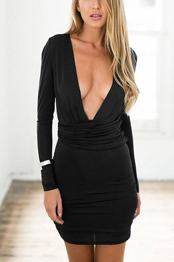 Plunge Wrap Front Bodycon Party Dress