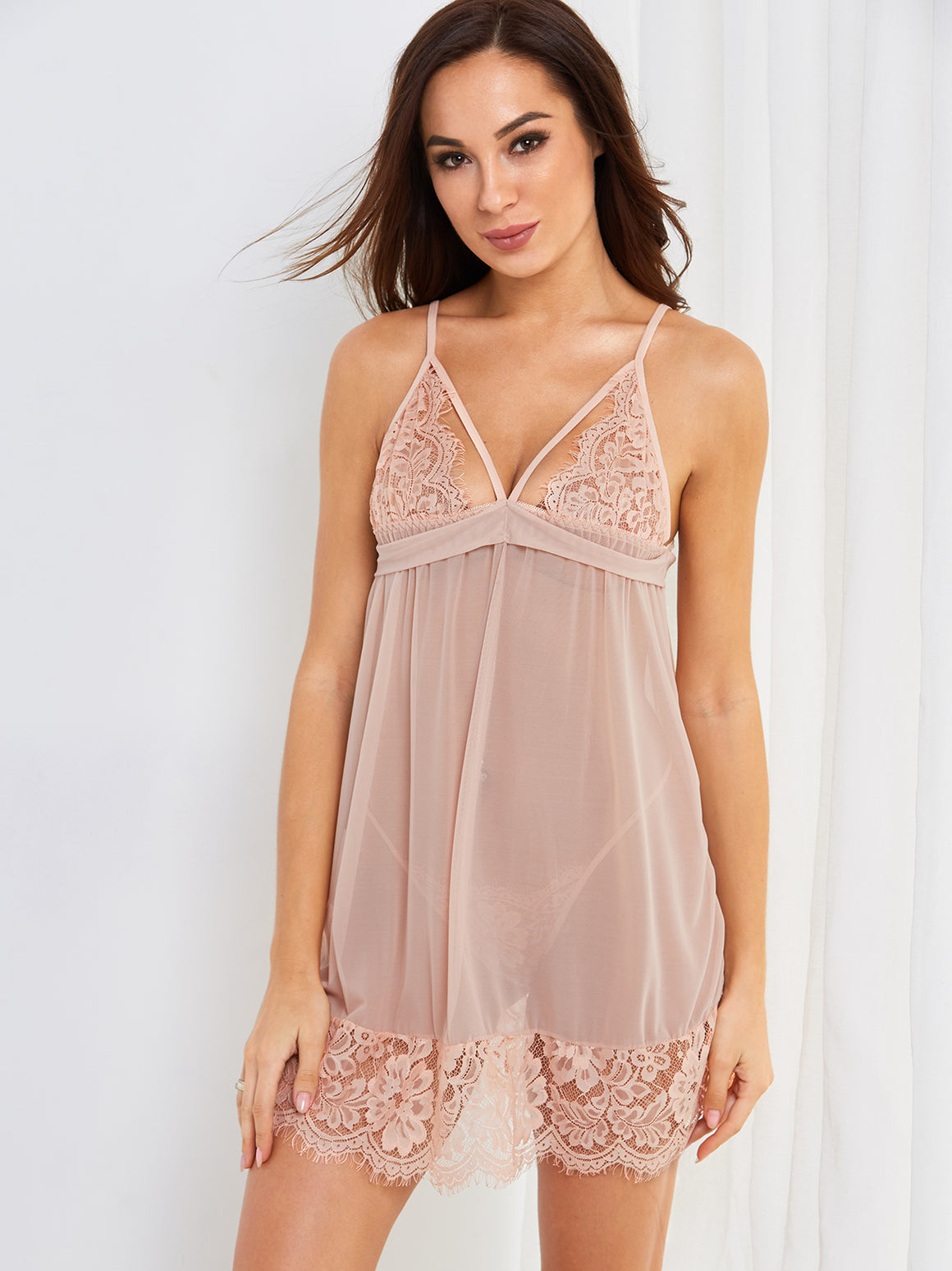 Tie-up Back Mesh Lace Babydoll Pajamas With G-strings
