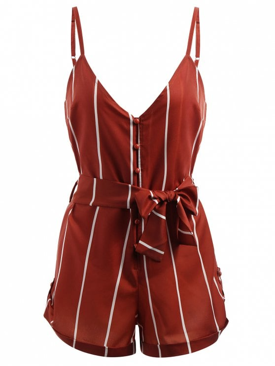 Striped Belted Cami Romper