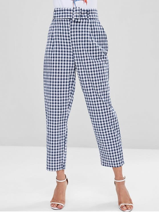 Gingham Pockets Belted High Waisted Pants