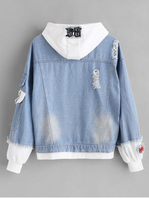 Distressed Hooded Denim Jacket