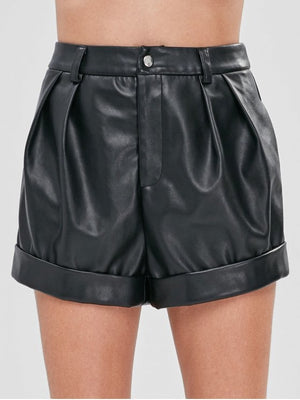 Faux Leather High Rise Shorts
