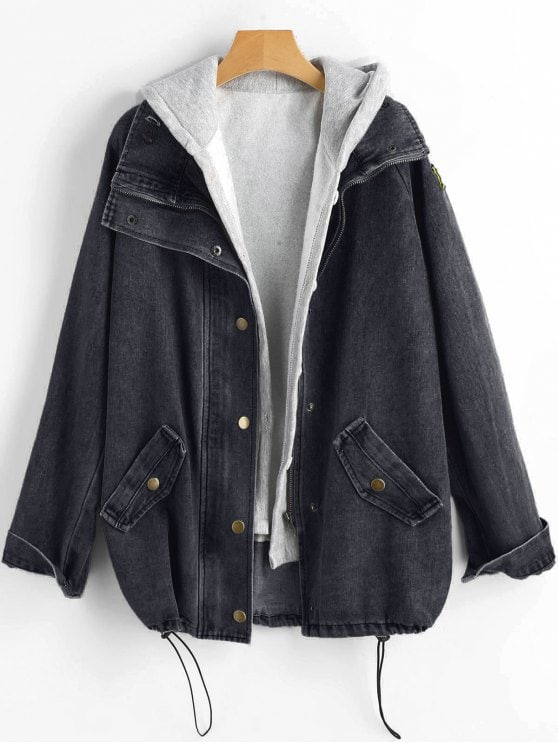 Button Up Denim Jacket Hooded Vest