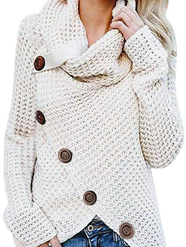 Five Buckle High Collar Pullover Solid Color Women's Sweater