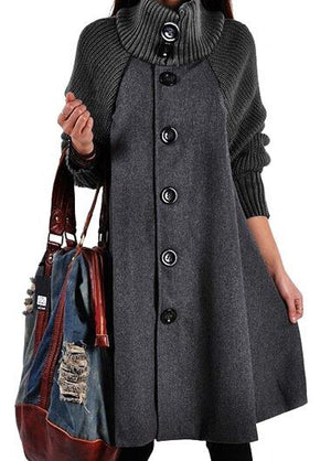 Long Sleeve Button Closure Black Swing Coat