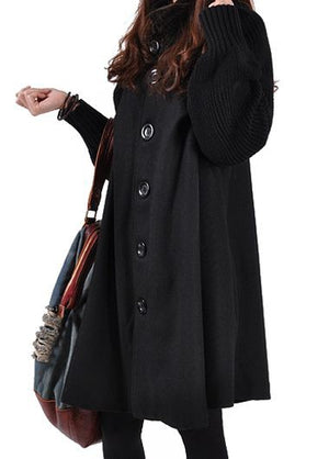 Long Sleeve Button Closure Black Swing Coat img 1