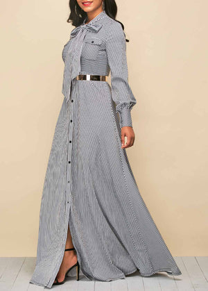 Stripe Print Tie Neck Button Up Maxi Dress