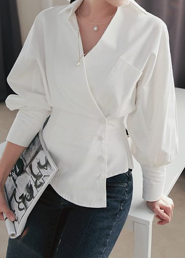 White Turndown Collar Long Sleeve Blouse