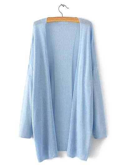Oversized Pure Color Side Slit Cardigan