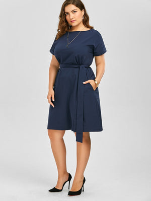 Plus Size Belted Knee Length A Line Dress With Pocket