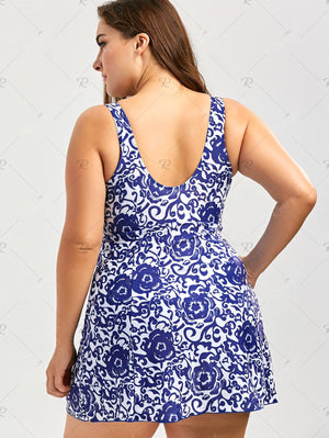 Paisley Floral Skirted Plus Size Swimsuit