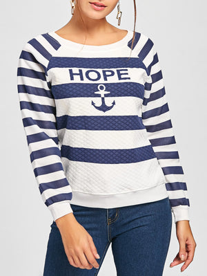 Argyle Anchor Letters Raglan Sleeve Striped Pullover Sweatshirt