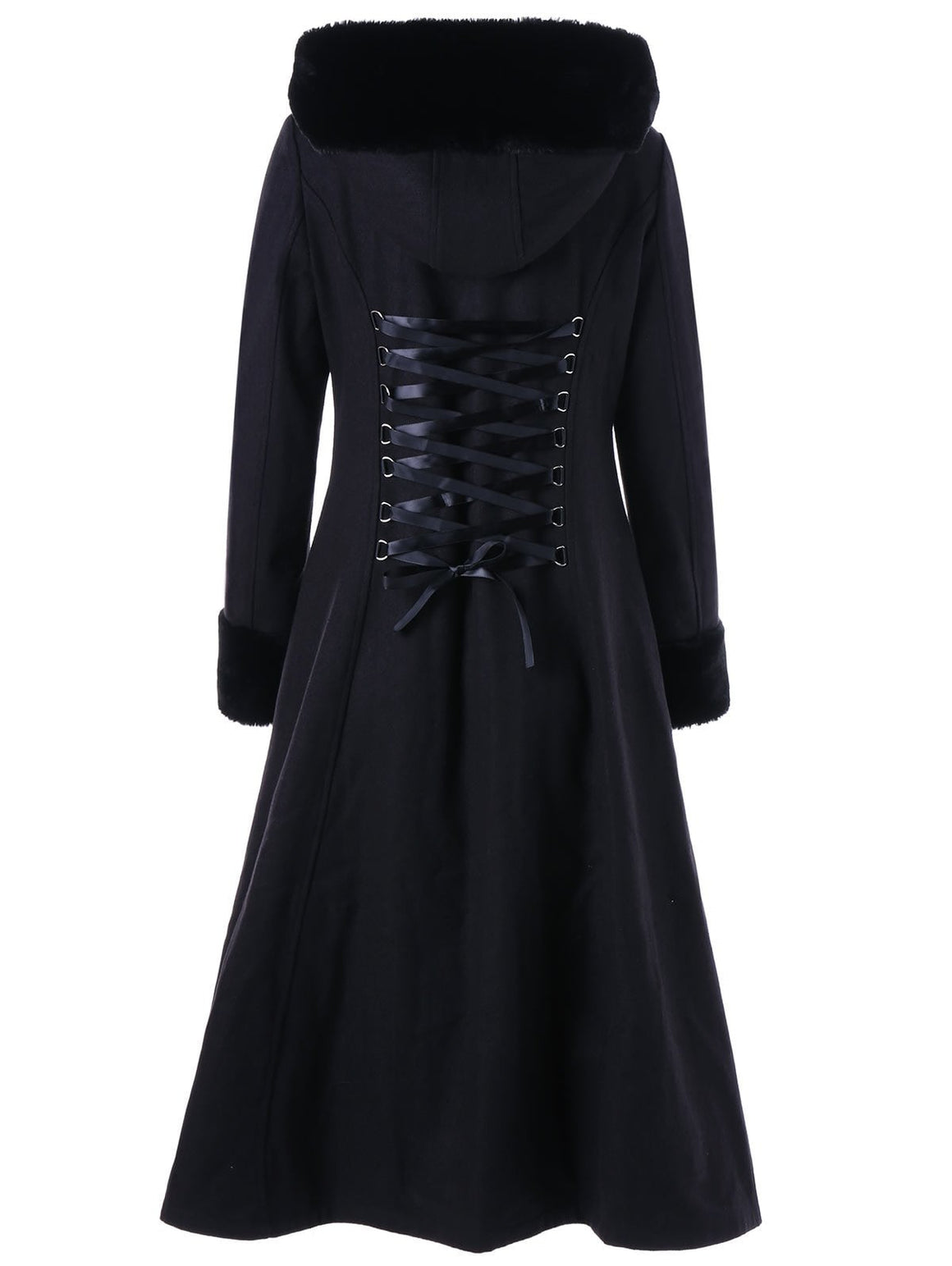 Hooded Longline Lace Up Coat
