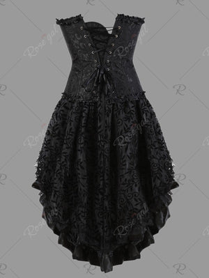 Two Piece Flounce Plus Size Corset Dress