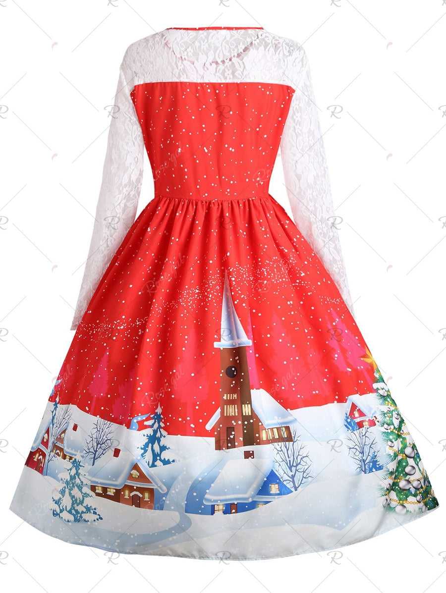e84e6361b7d6 Plus Size Christmas Santa Claus Lace Sleeve Party Dress