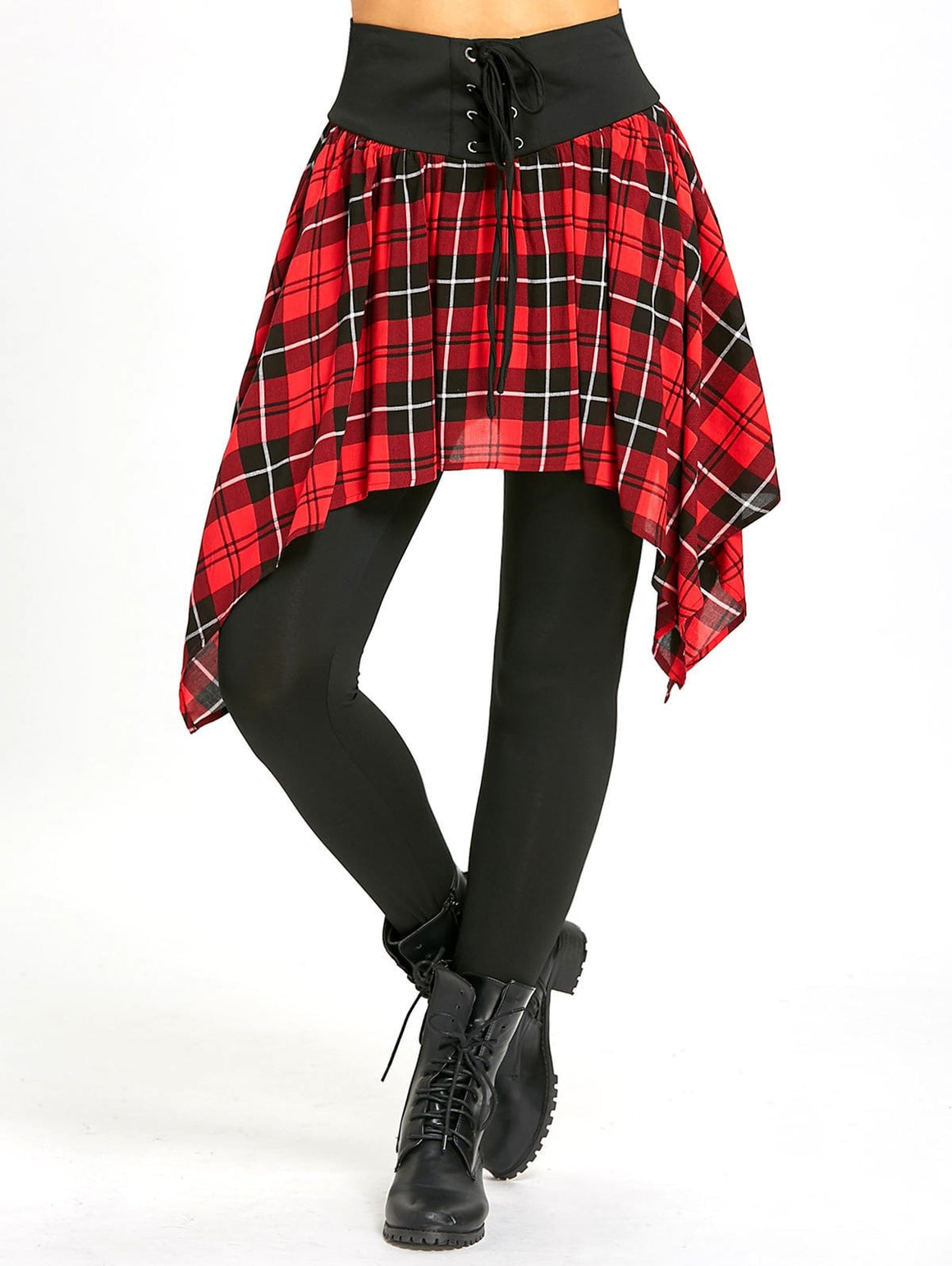 Lace Up Asymmetric Plaid Skirted Leggings
