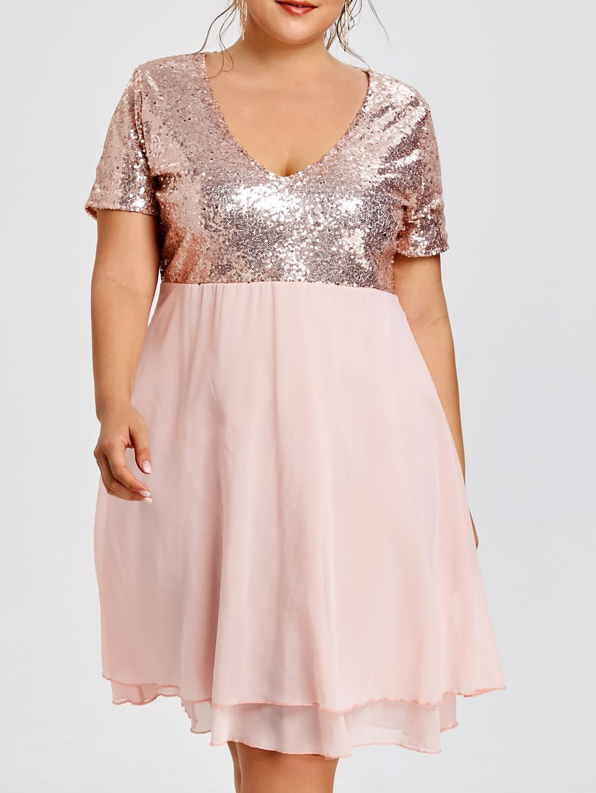 Glitter Plus Size Sequin Homecoming Dress