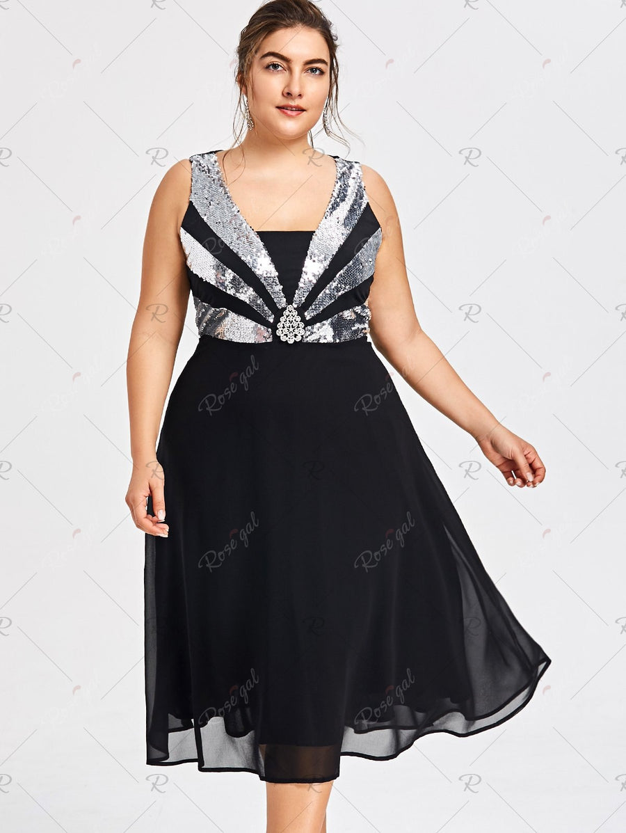 Plus Size Sequined Flowy Party Dress