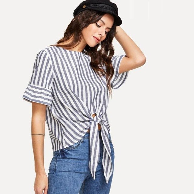 Blusa feminina Blouse Shirt   Striped Print Bandage  Crop Shirt Tunic Tops  Arrived
