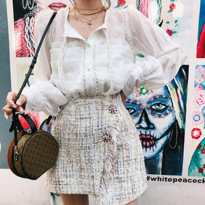 Women Bowtie Puff Sleeve Palace Style Lace Blouse+ Tweed Skirt Womens Two Piece Sets Dress Slim A-line Suit
