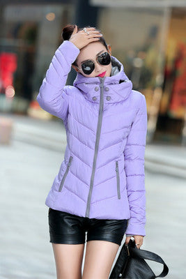 Down    thick coat  feather padded jacket  short paragraph Slim parkas 7349
