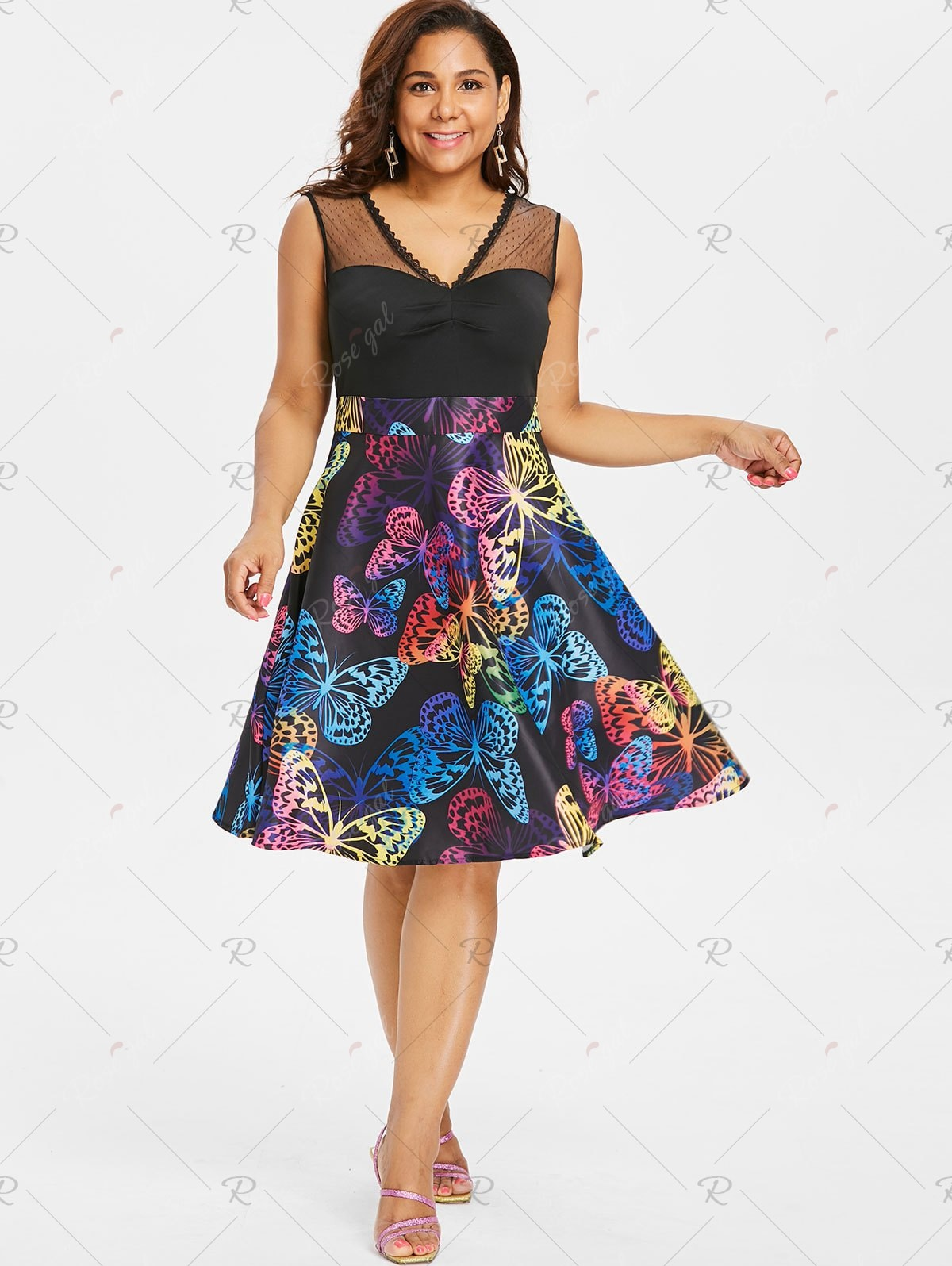 Butterflies Print Ruched Bust Plus Size Dress