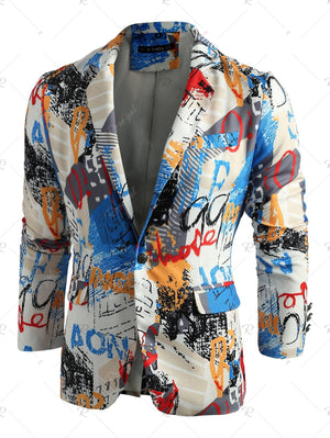 One Button Lapel Collar Graffiti Print Blazer